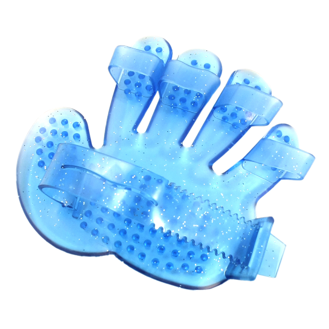 Pet Cat Dog Soft Plastic Adjustable Palm Shape Massage Grooming Glove Hair Fur Bath Brush Comb Blue