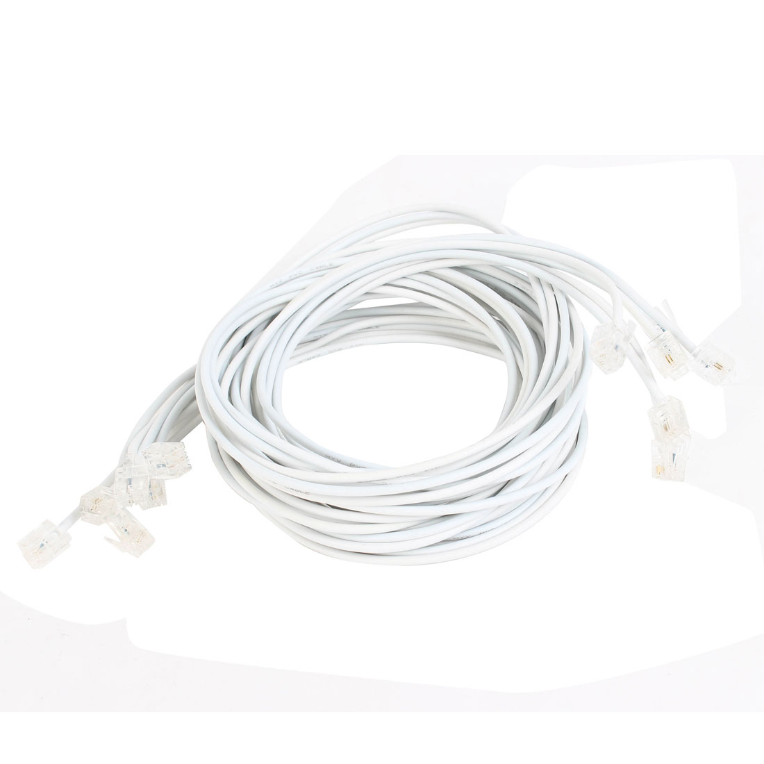 9 Pcs Telephone Line Cord White 6P4C RJ11 to 6P4C RJ11 2M