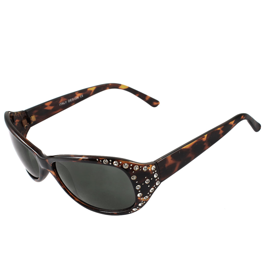 Woman Full Rim Rectangle Shape Gray Lens Plastic Rhinestone Inlaid Sunglasses Sun Glasses Dark Brown
