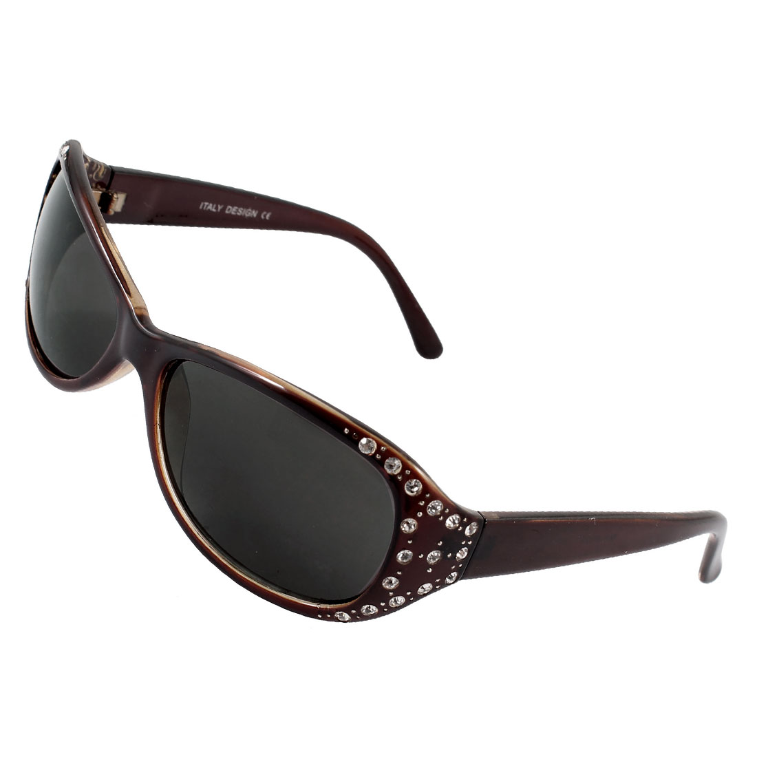 Women Dark Brown Full Rim Rectangle Shaped Black Len Sunglasses Sun Glasses