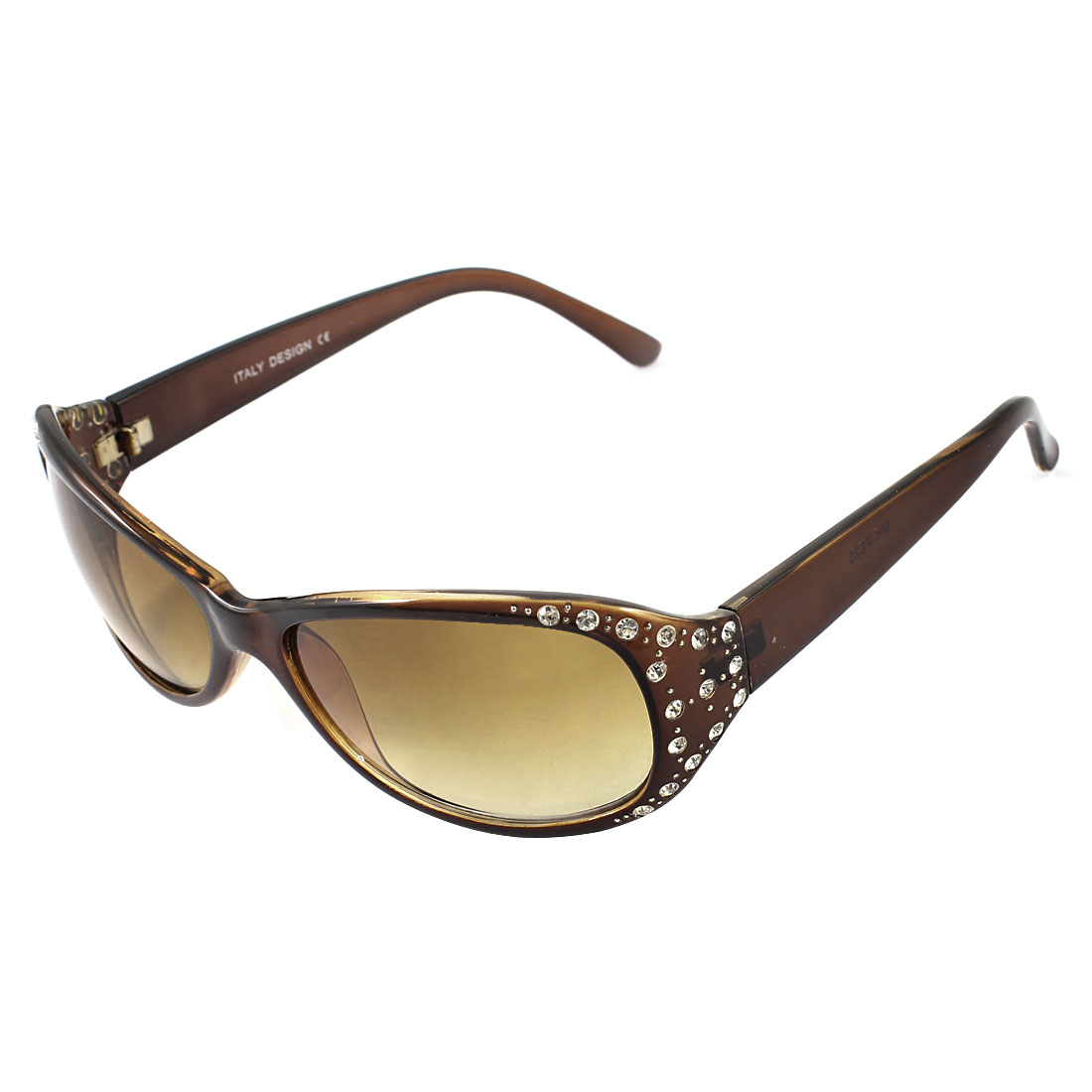 Woman Rhinestone Inlaid Coffee Color Plastic Full Rim Gradient Brown Rectangle Len Sunglasses Sun Glasses