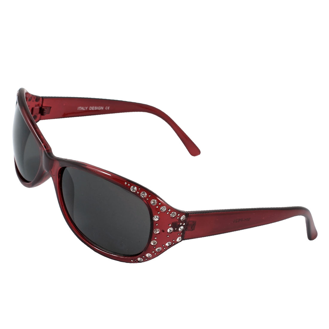 Lady Dark Red Plastic Arm Single Bridge Black Lens Sunglasses Sun Glasses
