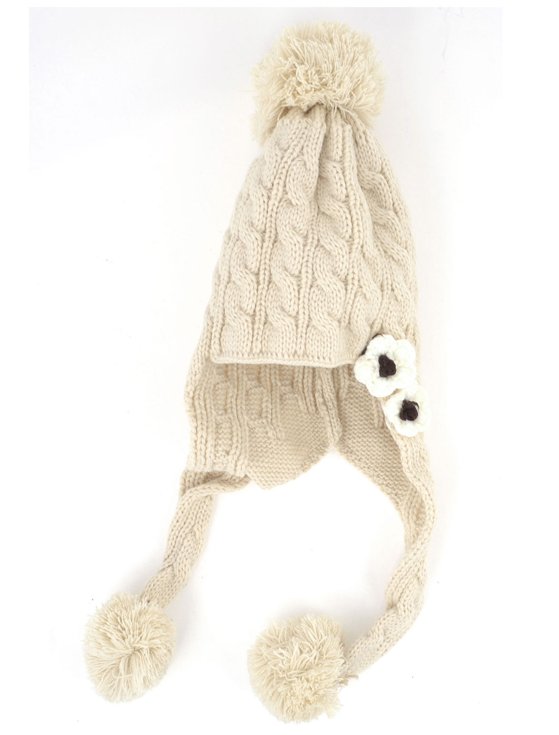 Ladies Gift Flower Decor Knitting Earflaps Hat Warm Pompom Cap Beige