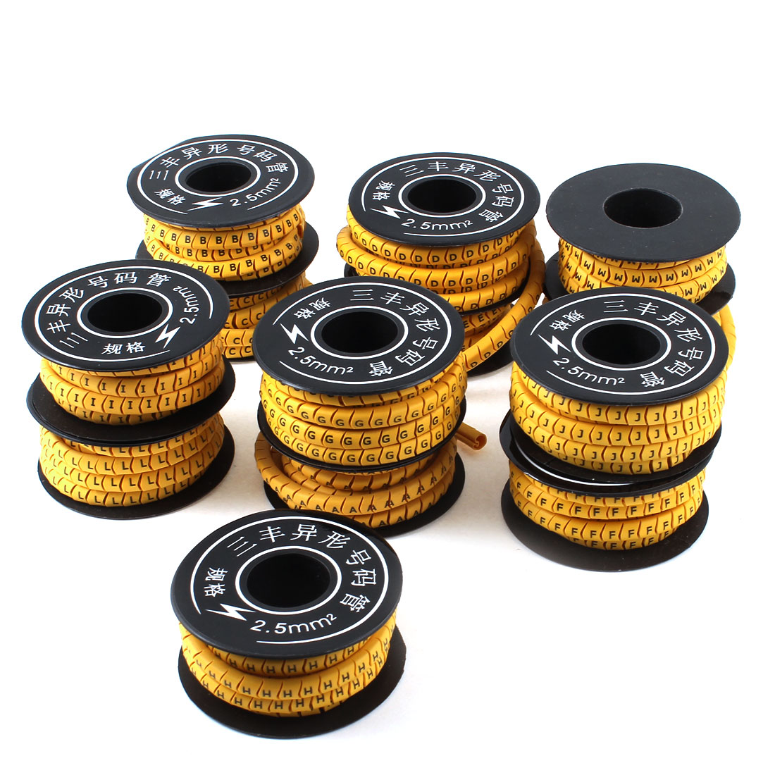 13 Pcs Yellow Flexible Soft PVC Letter A-M Print 2.5mm2 Fixing Wire Cable Markers Roll