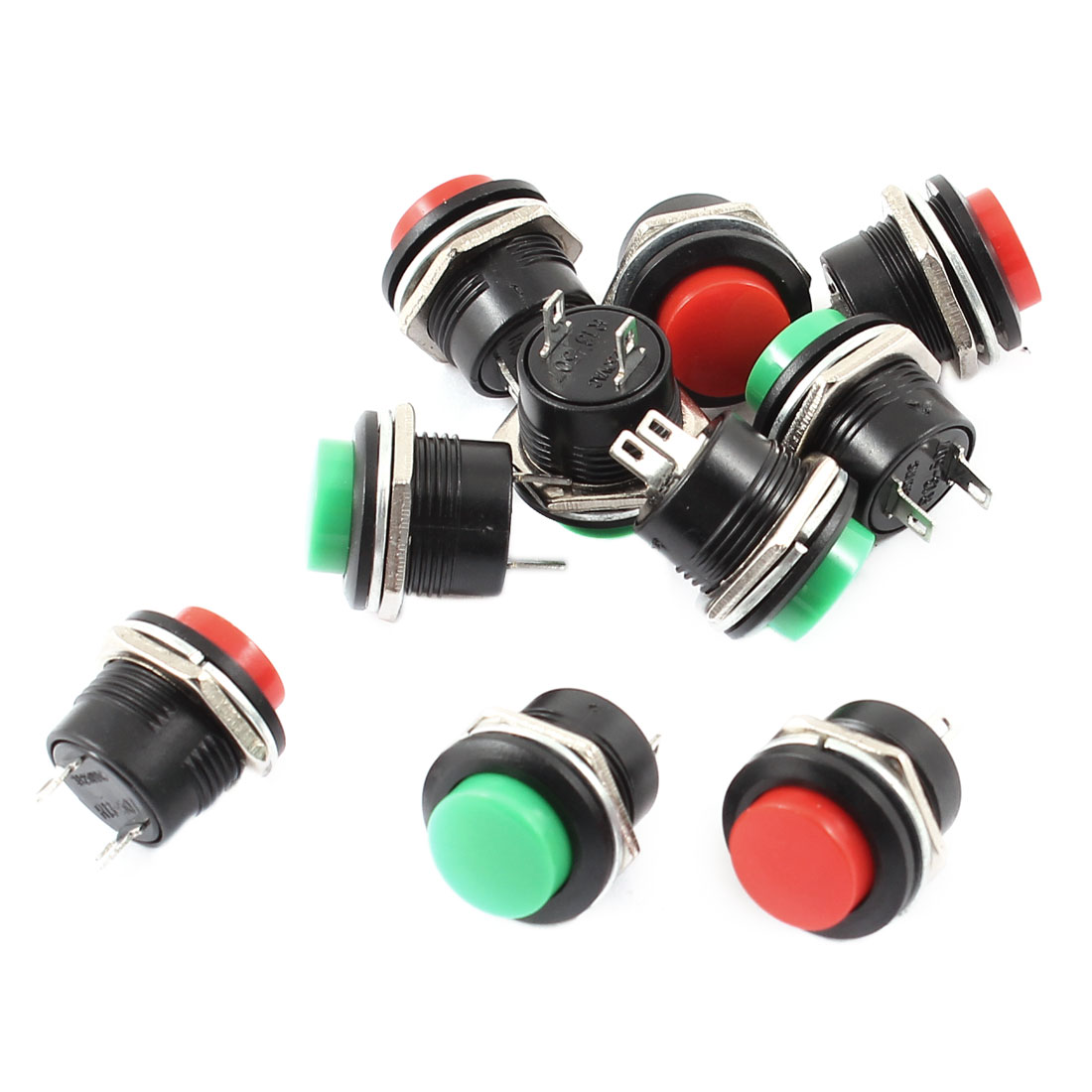 10 Pcs 2 Terminals Green Red Head SPST Momentary Black Pushbutton Switch AC125V 3A AC250V 1.5A