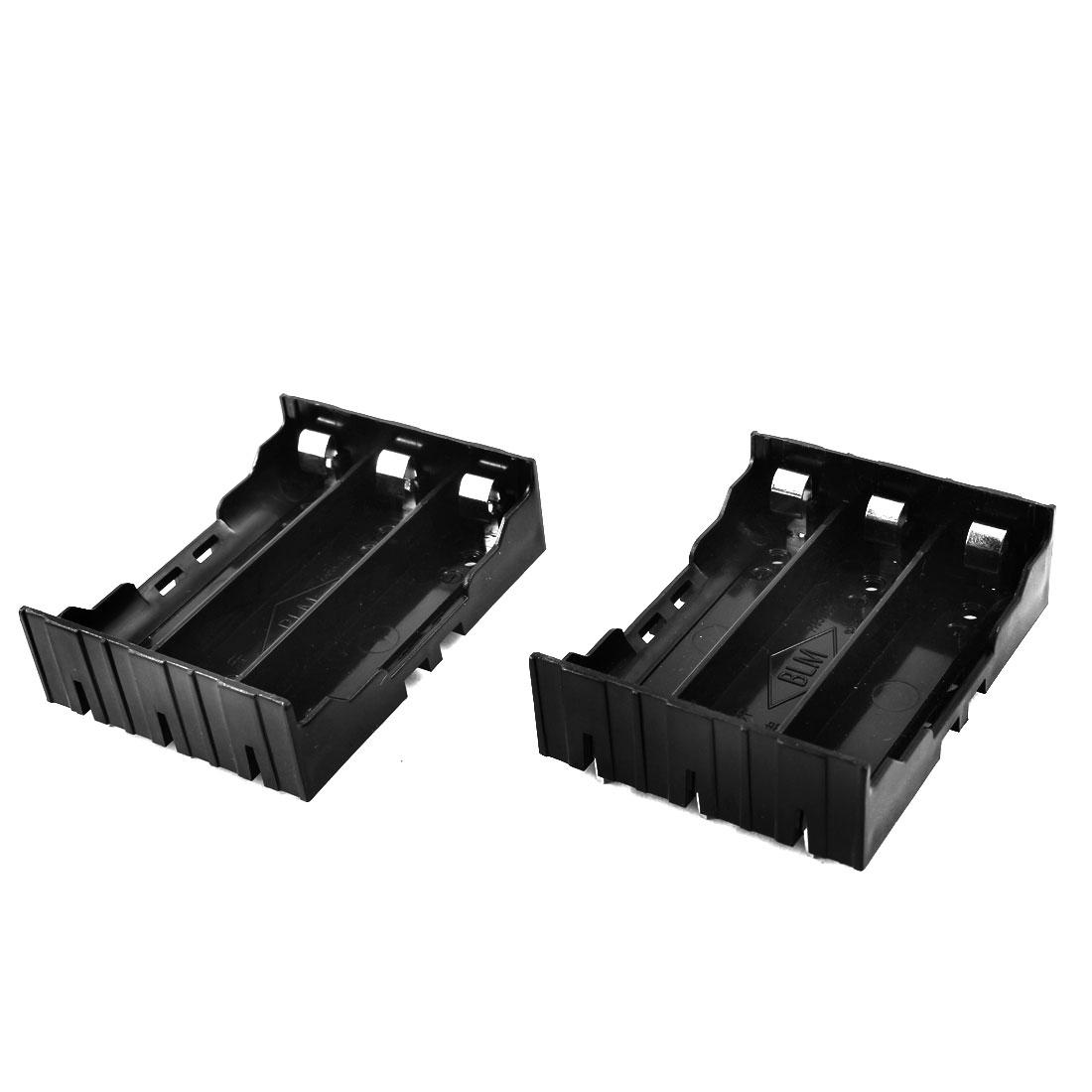 2 Pcs Open Frame Rectangle Black Plastic Shell 3 x 3.7V 18650 Battery Holder Batteries Case Storage Box for DIY