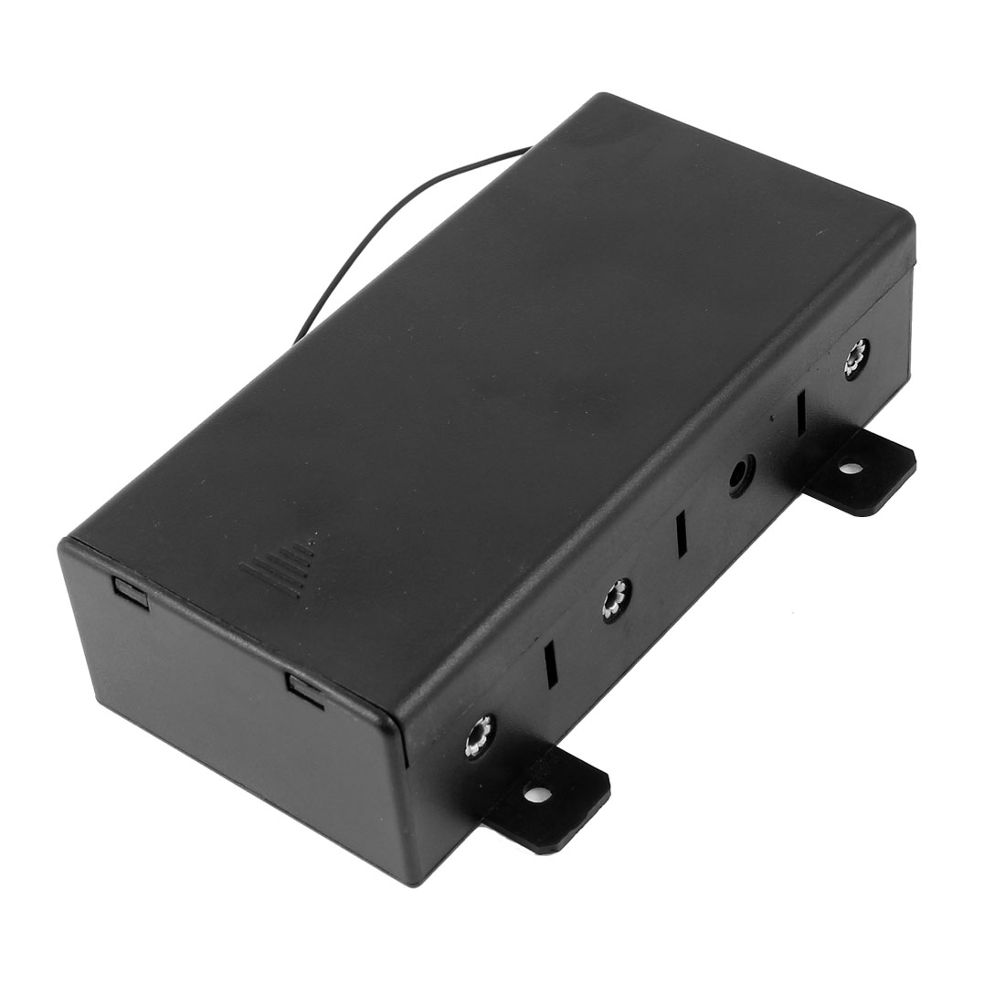 Spring Loaded Dual Wire Leads Black Plastic Housing 4 x 1.5V D Size Battery Holder Case Container Box w Slide Cover