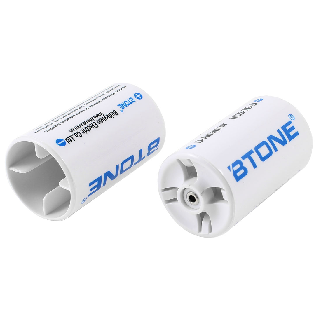 2pcs Round Design White Plastic Parallel Connection Battery AA to D Size Adapter Converter Case Holder