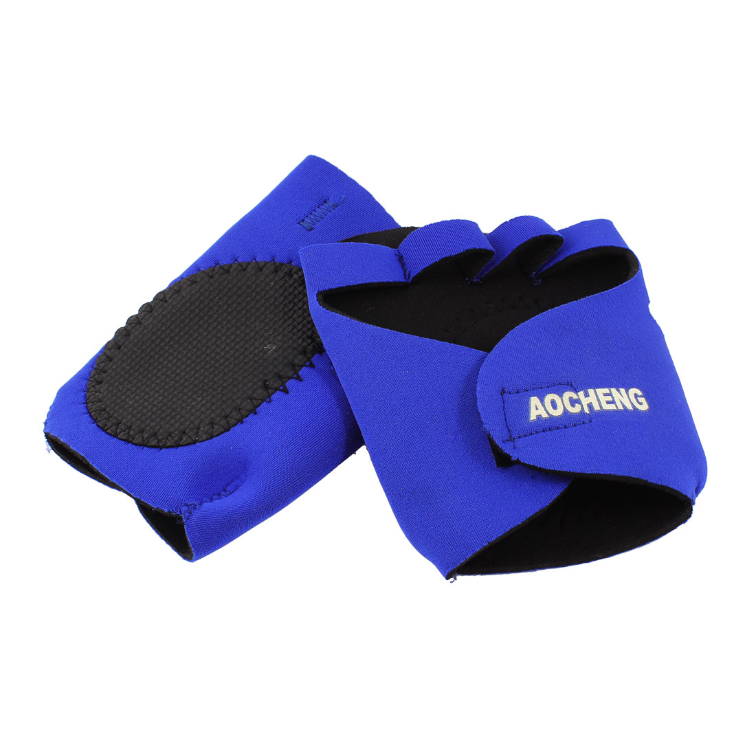 Neoprene Boxer Half Finger Boxing Sandbags Gloves Pair Blue Black
