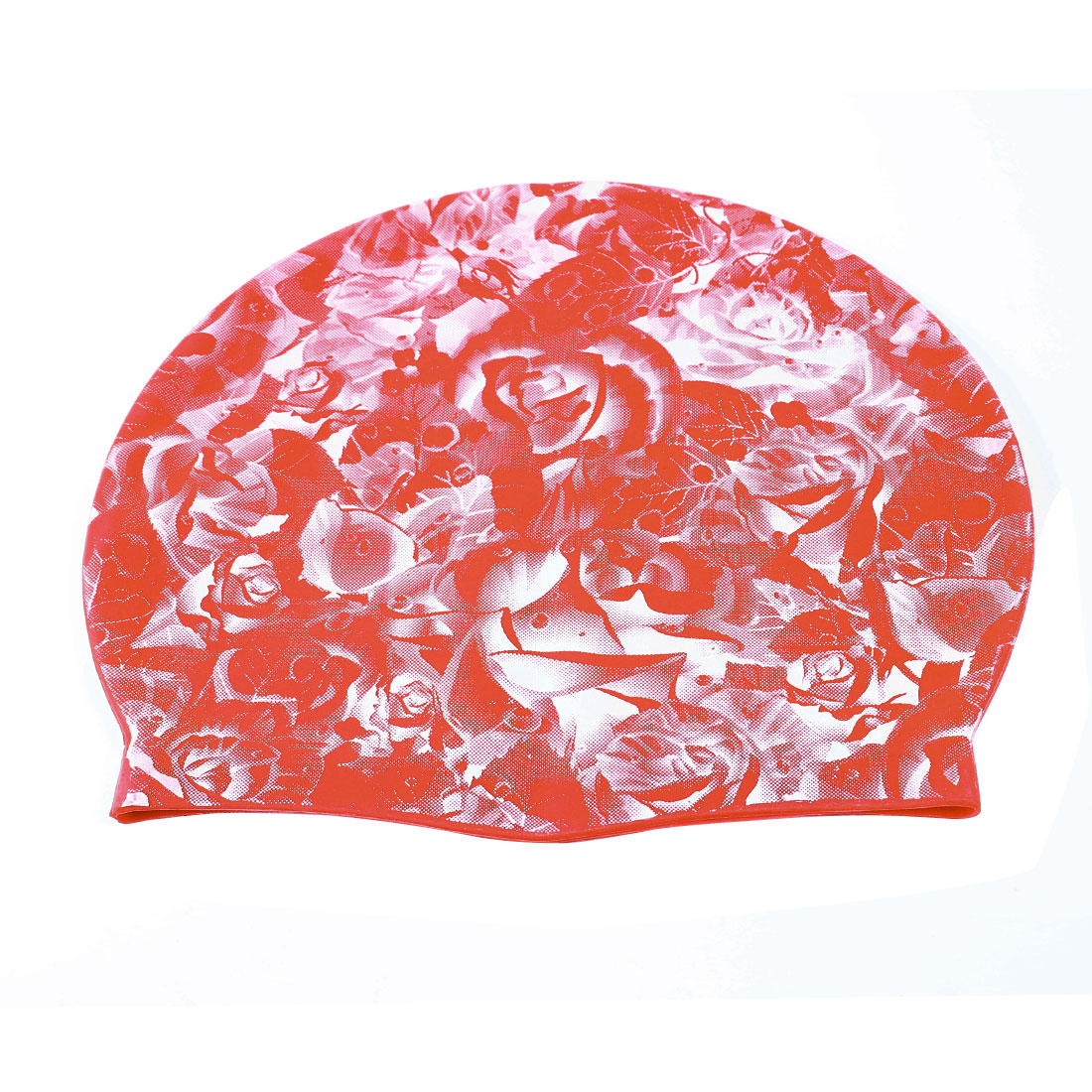 Stretchy White Flower Pattern Orange Red Silicone Swimming Hat Cap for Man Woman