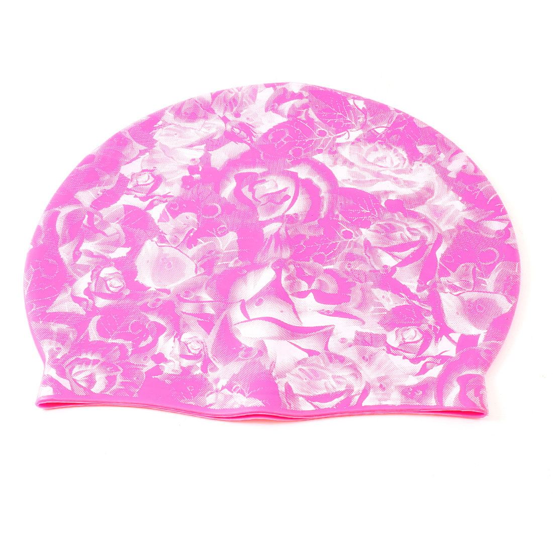 Man Lady White Flower Pattern Rose Pink Stretch Silicone Swim Swimming Hat Cap