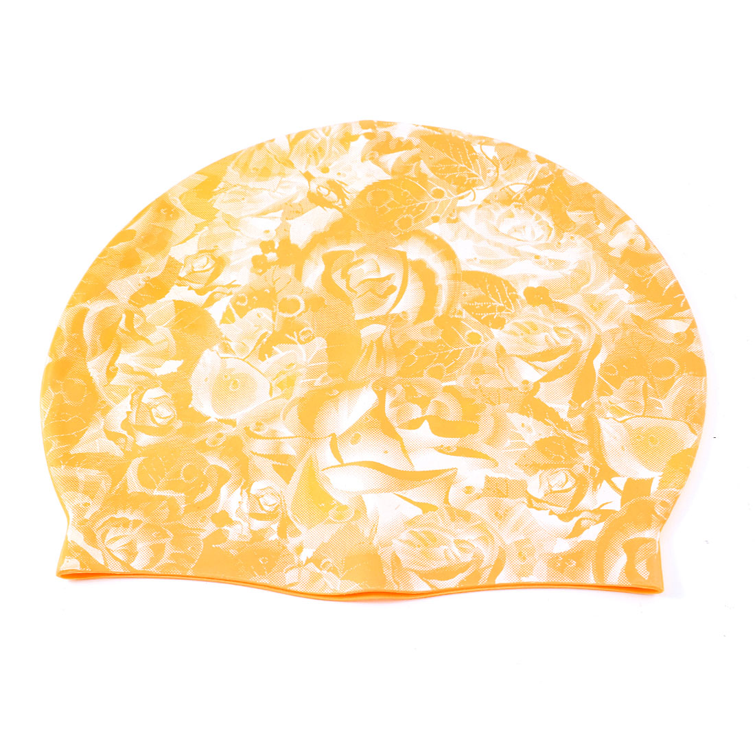 White Flower Pattern Dark Yellow Stretch Silicone Swimming Hat Cap for Man Woman