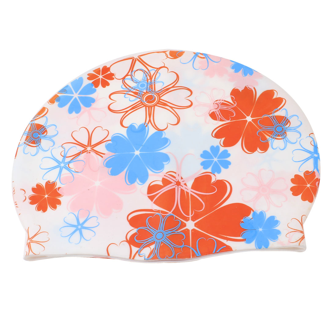 Adult Flower Printed Assorted Color Silicone Dome Shaped Elastic Swim Swimming Training Cap