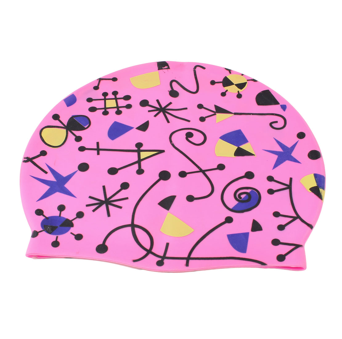 Adult Musical Notes Pattern Fuchsia Silicone Dome Shaped Elastic Swim Swimming Training Cap