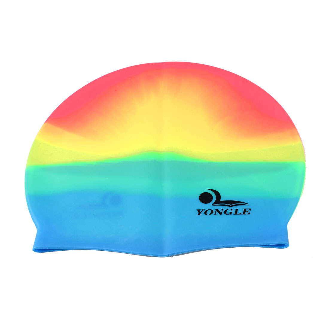 Adult Letter Printed Assorted Color Silicone Dome Shaped Elastic Swim Swimming Training Cap
