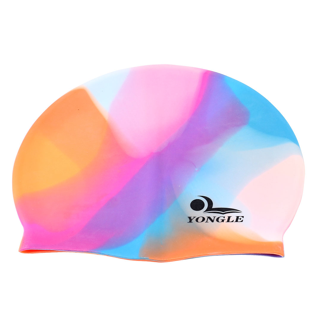 Adult Letter Printed Colorful Silicone Dome Shaped Elastic Swim Swimming Training Cap