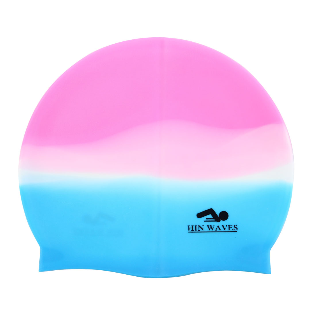 Adult Letter Printed Pink Blue White Silicone Dome Shaped Elastic Swim Swimming Training Cap