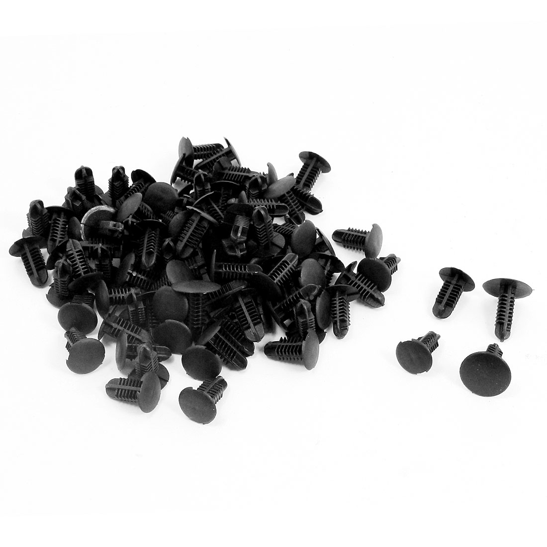 100 Pieces Auto Car Black Plastic Rivets Fastener Door Clips for 6mm Hole