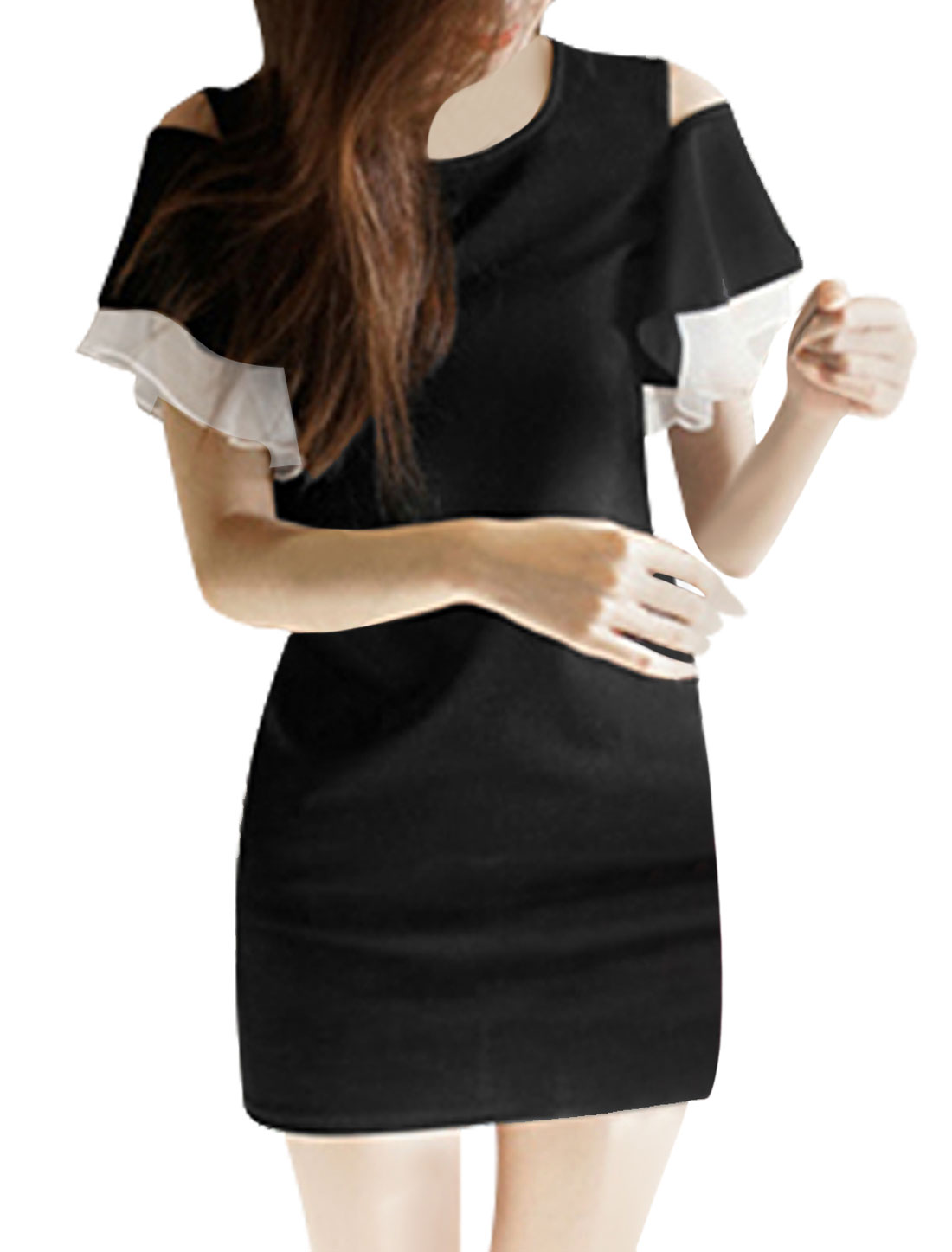 Lady Round Neck Cut Out Shoulder Layered Sleeve Straight Dress Black M