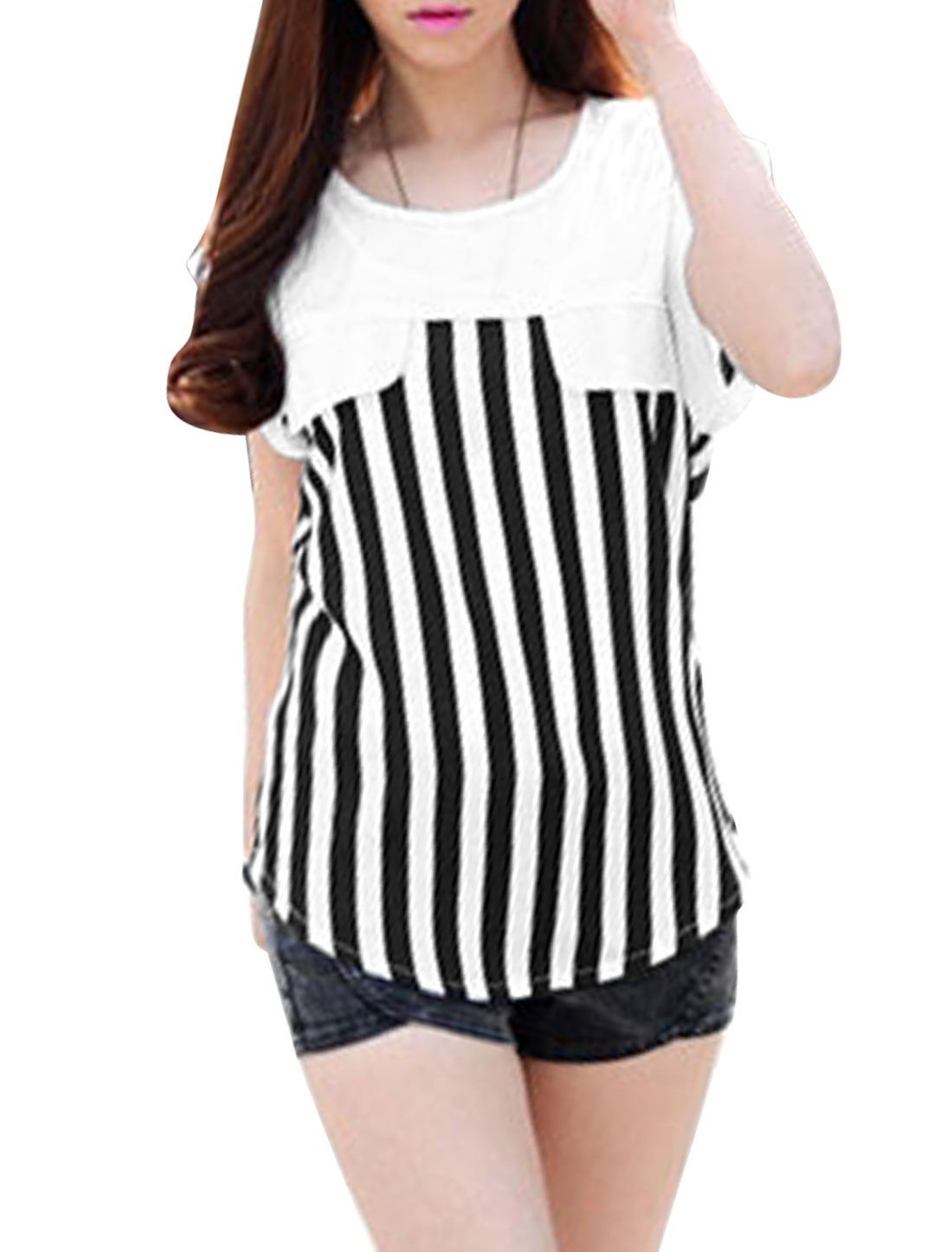 Lady Round Neck Sleeveless Stripes Semi Sheer T-Shirt Black S