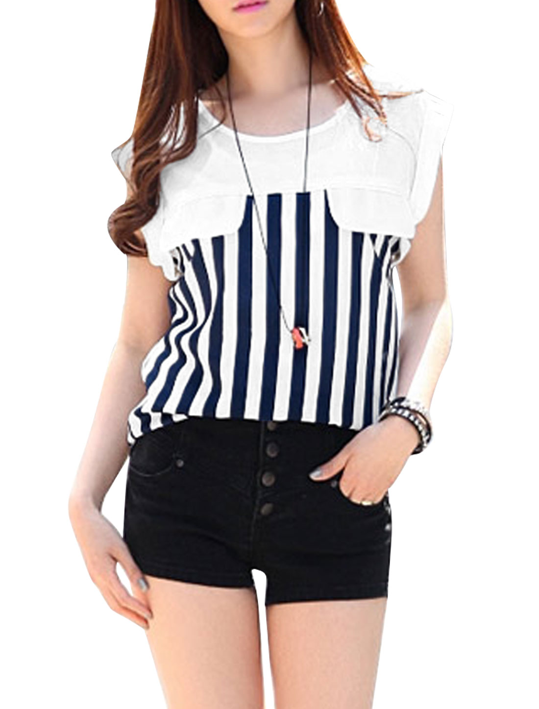 Lady Summer Sleeveless Stripes Semi Sheer T-Shirt Dark Blue S