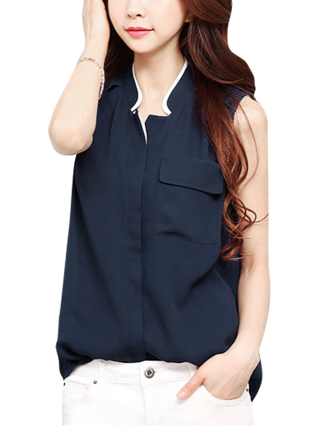 Lady Button Down Closure One Chest Pocket Chiffon Blouse Navy Blue S
