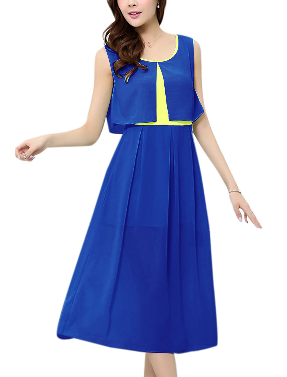 Lady Round Neck Fake Two Piece Design Mid-Calf A-Line Dress Blue M