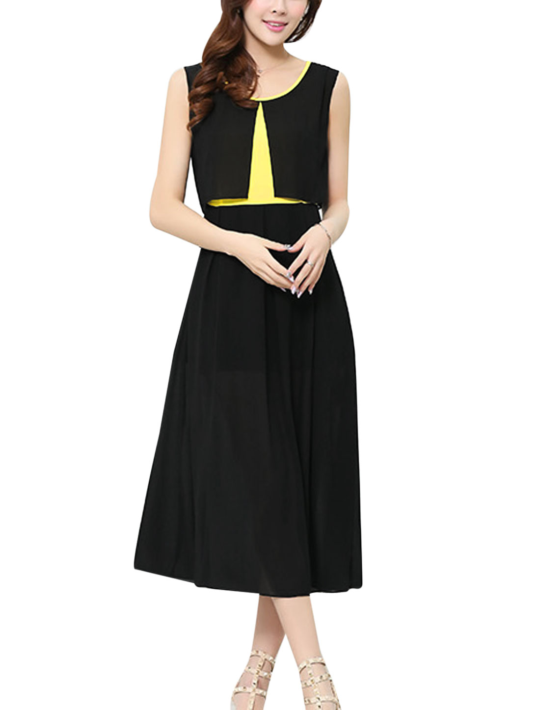 Lady Panel Layered Design Design Mid-Calf Chiffon A-Line Dress Black M