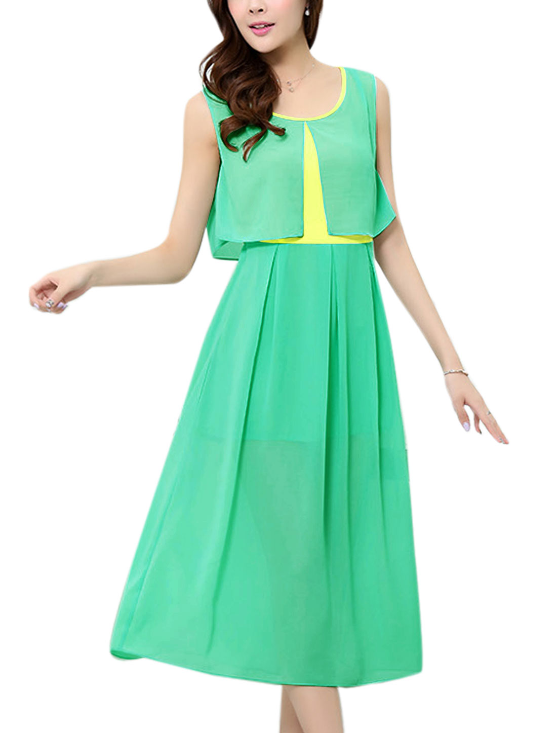Lady Layered Design Design Lining Mid-Calf A-Line Dress Light Green M