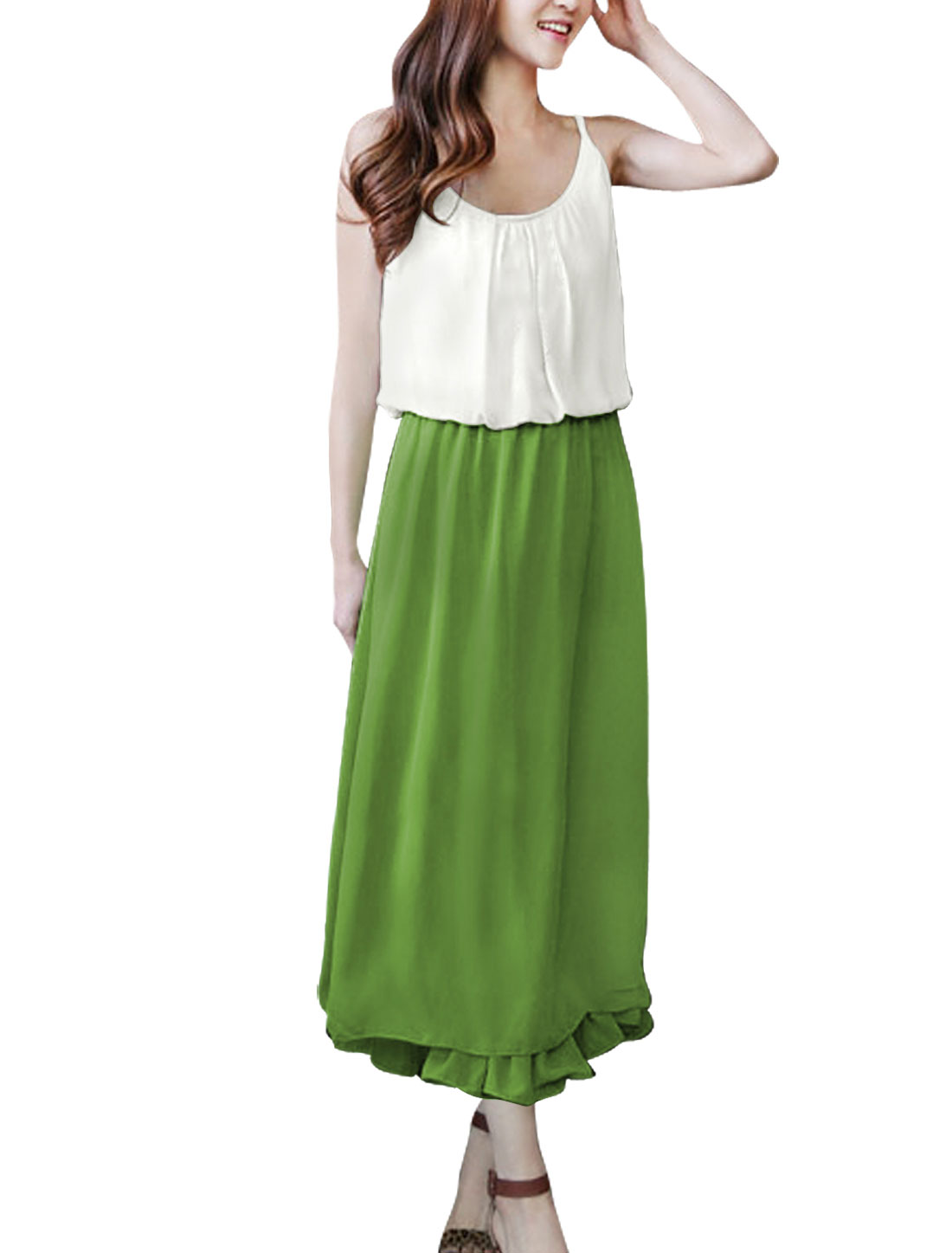 Lady Scoop Neck Sleeveless Elastic Waist Mid-Calf Blouson Dress Green White S