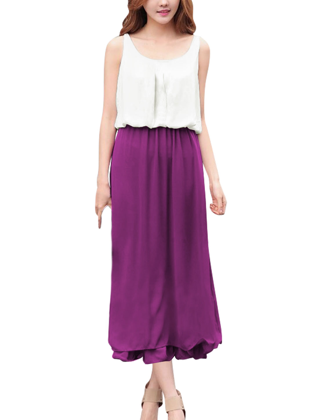 Lady Scoop Neck Elastic Waist Mid-Calf Lining Blouson Dress Purple White S