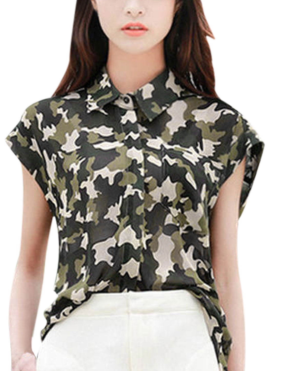 Lady Single Breasted Low High Hem Semi Sheer Chiffon Camouflage Blouse Army Green XS