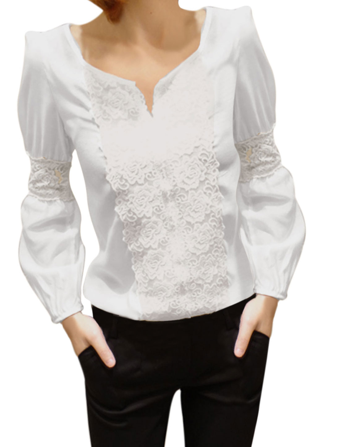 Women Split Neck Long Sleeve Lace Panel Blouse White XS