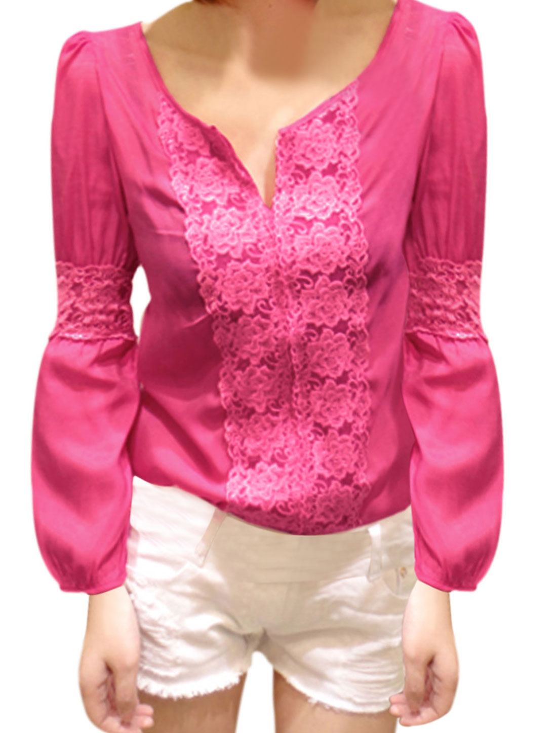 Women Fashion Design Split Neck Lace Panel Blouse Fuchsia XS