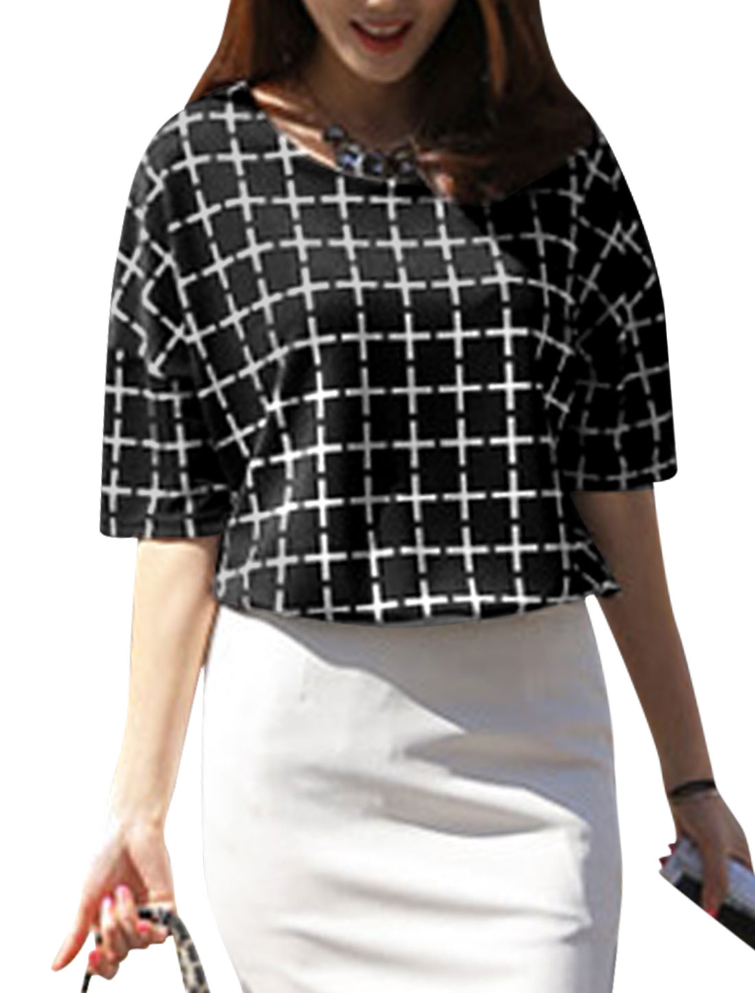 Lady Half Batwing Sleeve Cross Pattern Tunic Top Black S