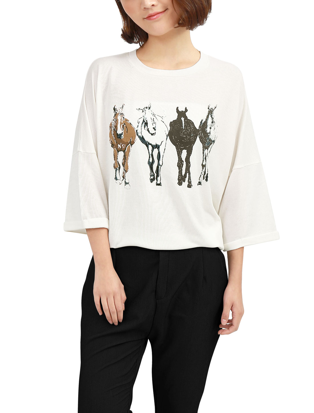 Lady Round Neck 3/4 Batwing Sleeve Horse Pattern Spring Tunic Tops Ivory XS
