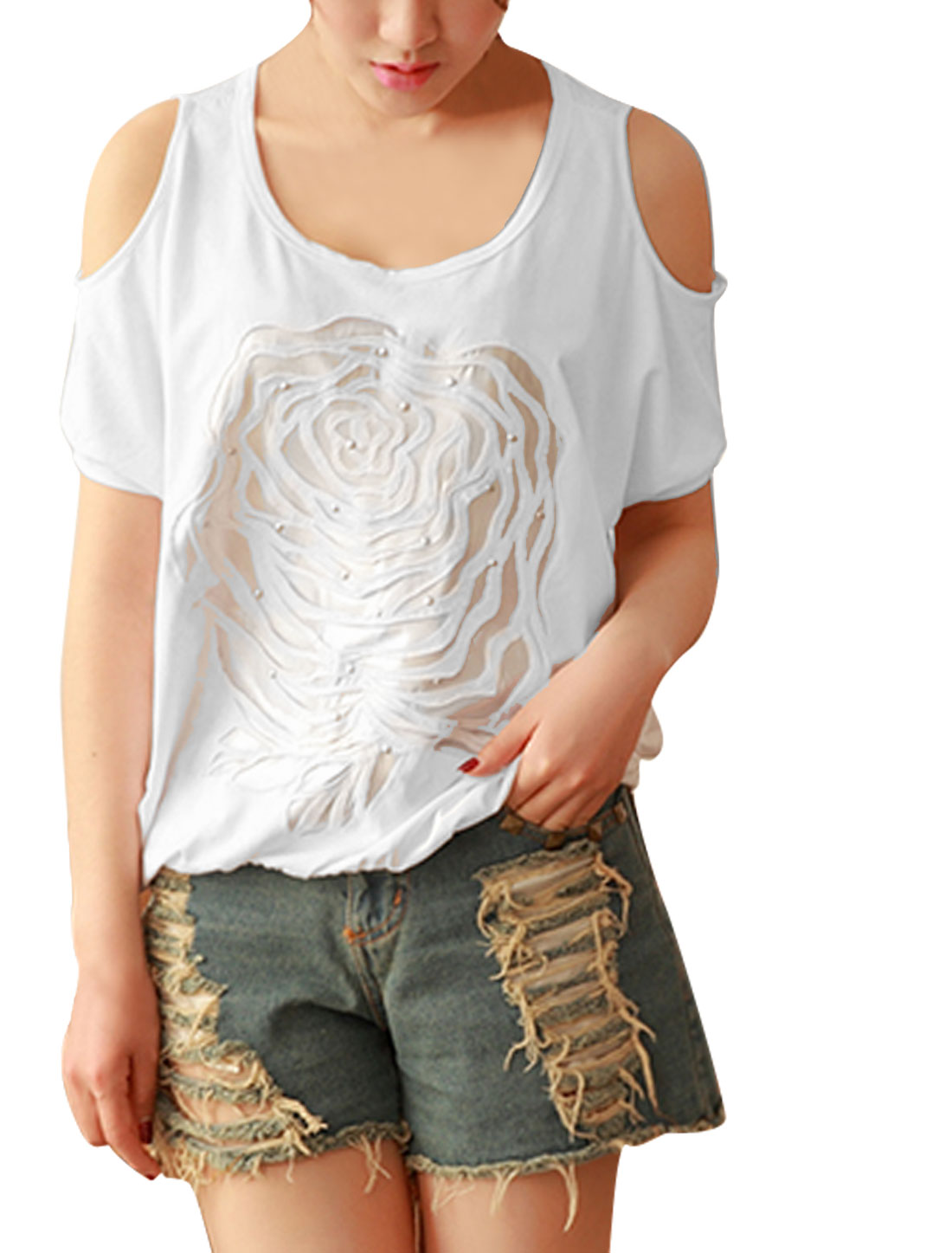 Lady Flower Embroidery Metal Stud Decor Cut Out Design T-Shirt White XS
