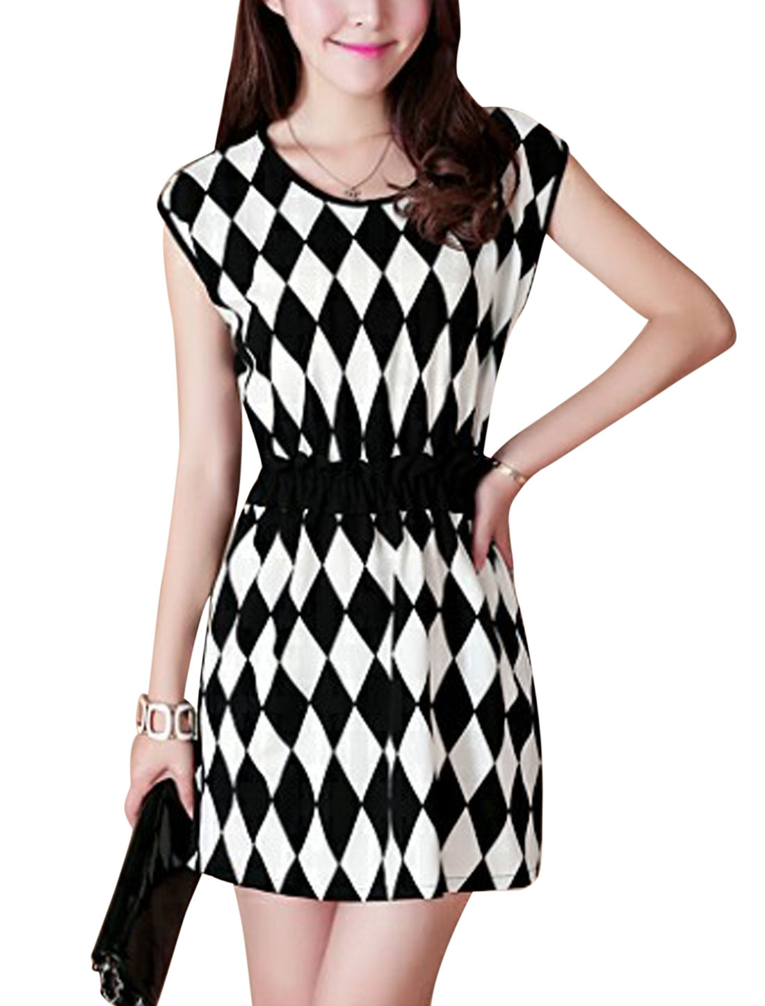 Lady Cap Sleeve Argyle Pattern Lining Dress Black White XS