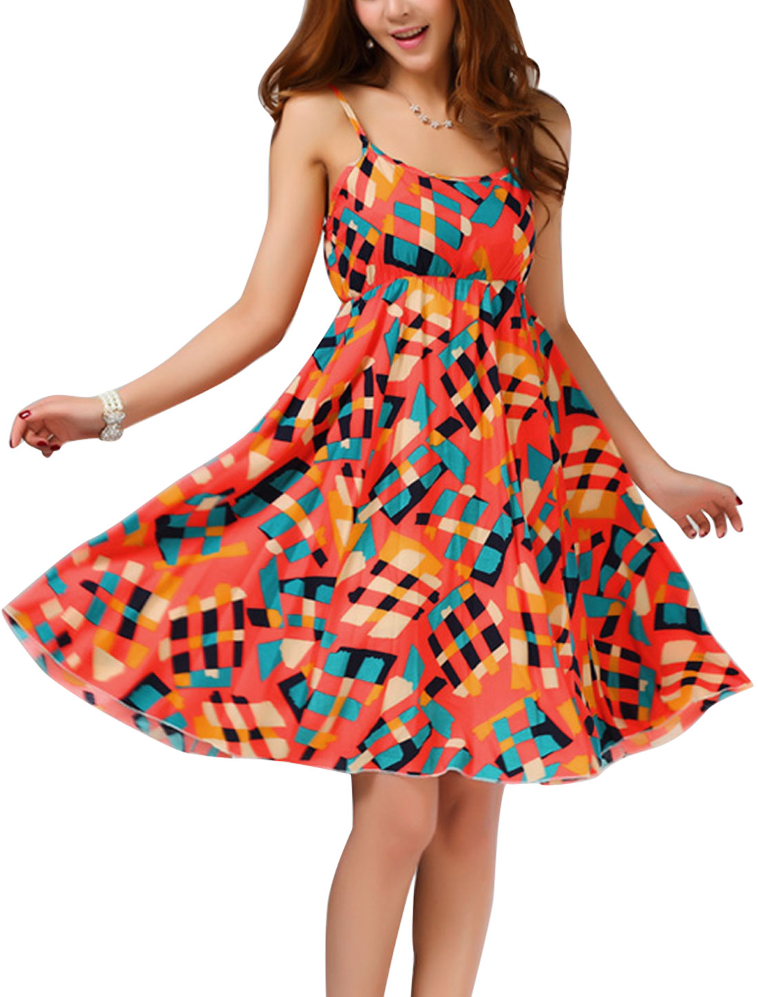 Lady Adjustable Spaghetti Strap Elastic Waist Plaids Dress Orange XS