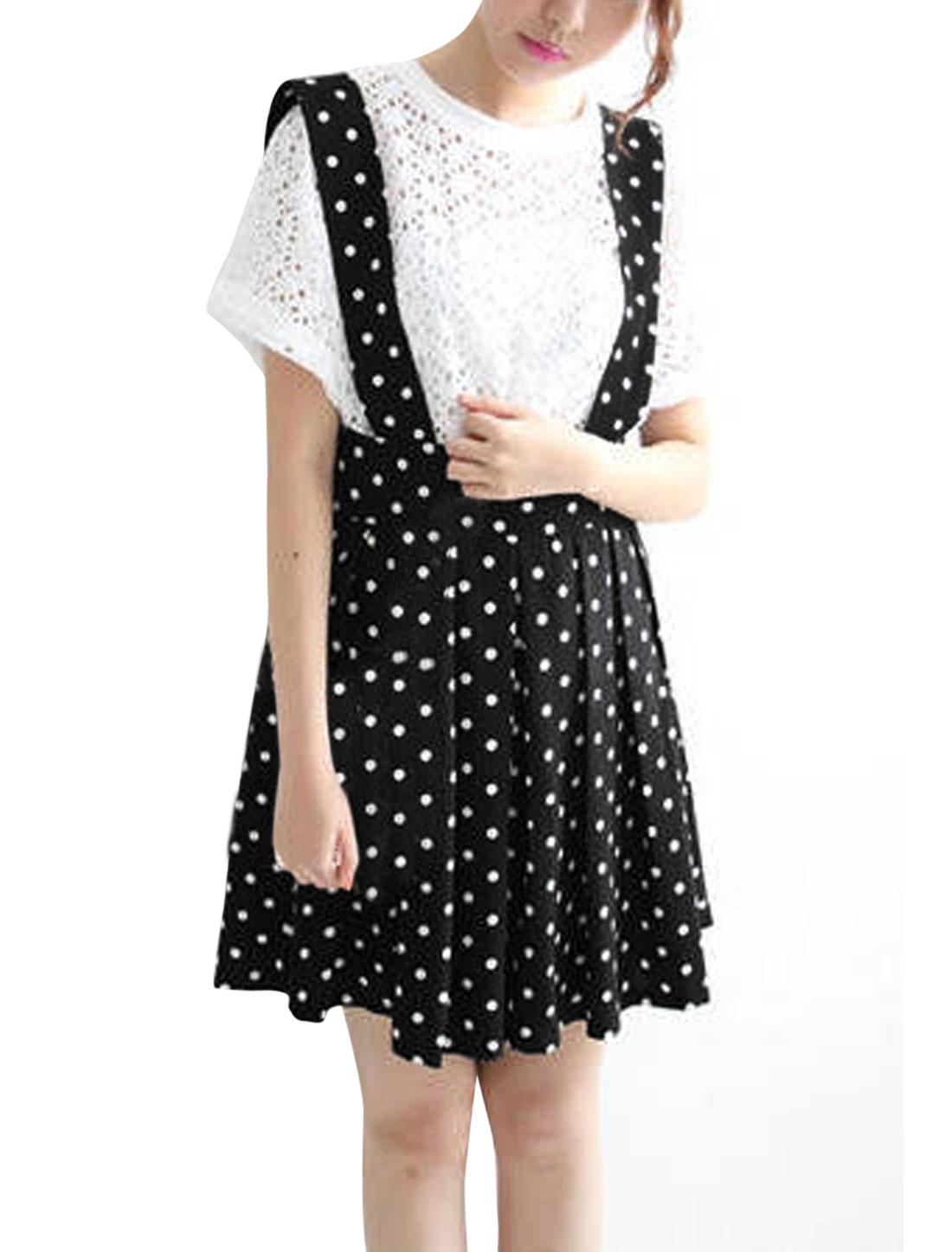 Women Dots Prints Elastic Waist Lining Suspender Skirt Black S