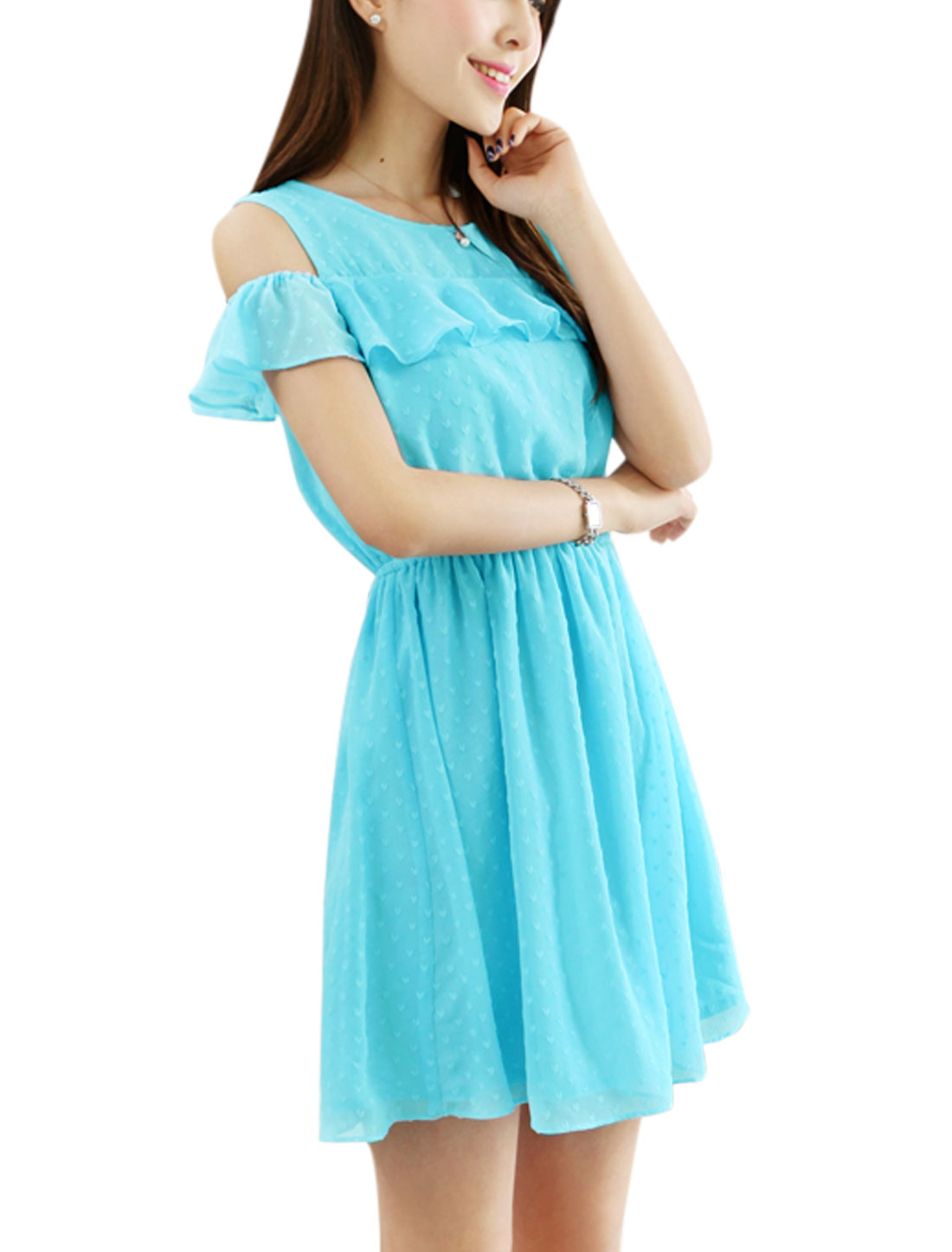 Lady Cut Out Shoulder Elastic Waist Lining Above Knee Blouson Dress Sky Blue XS