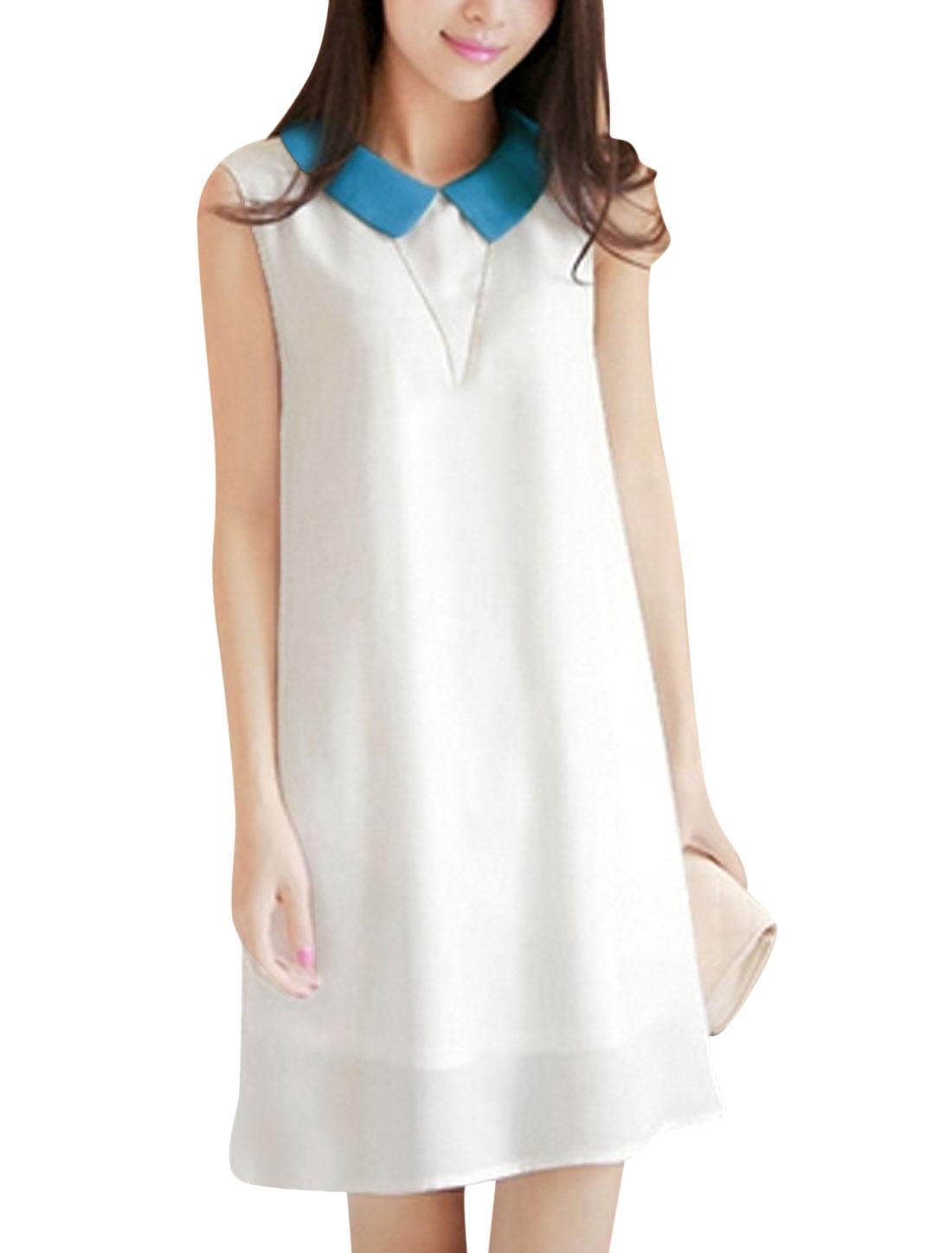 Lady Doll Collar Chiffon Blouson Dress w Waist Belt White Sea Blue XS