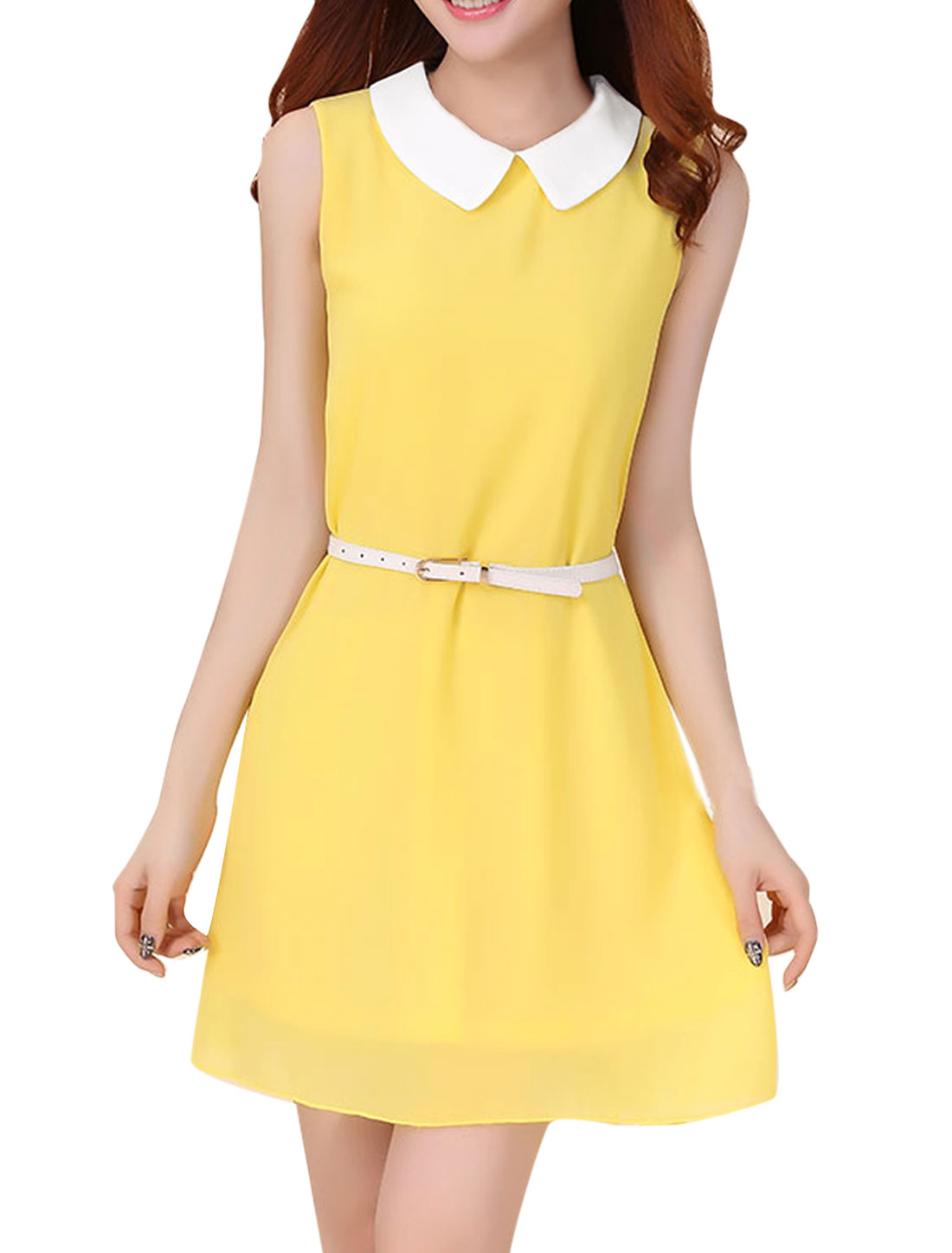 Lady Peter Pan Collar Sleeveless Lining Blouson Dress w Waist Belt Yellow XS