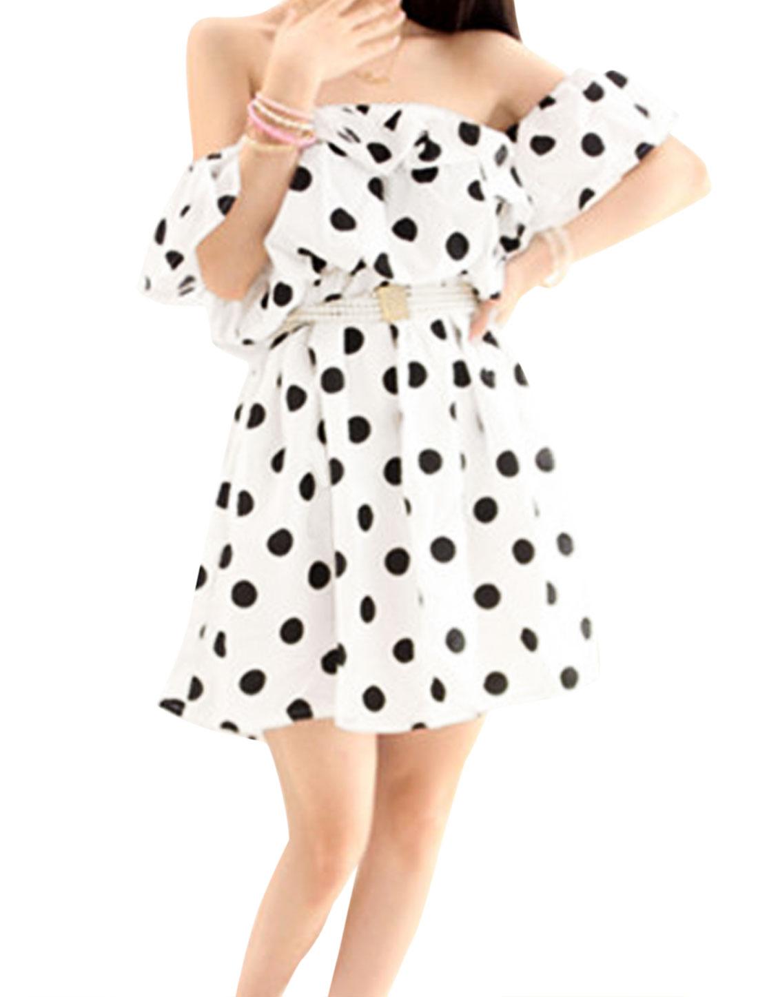 Ladies Off Shoulder Dots Ruffled Upper Sweet Dress White XS