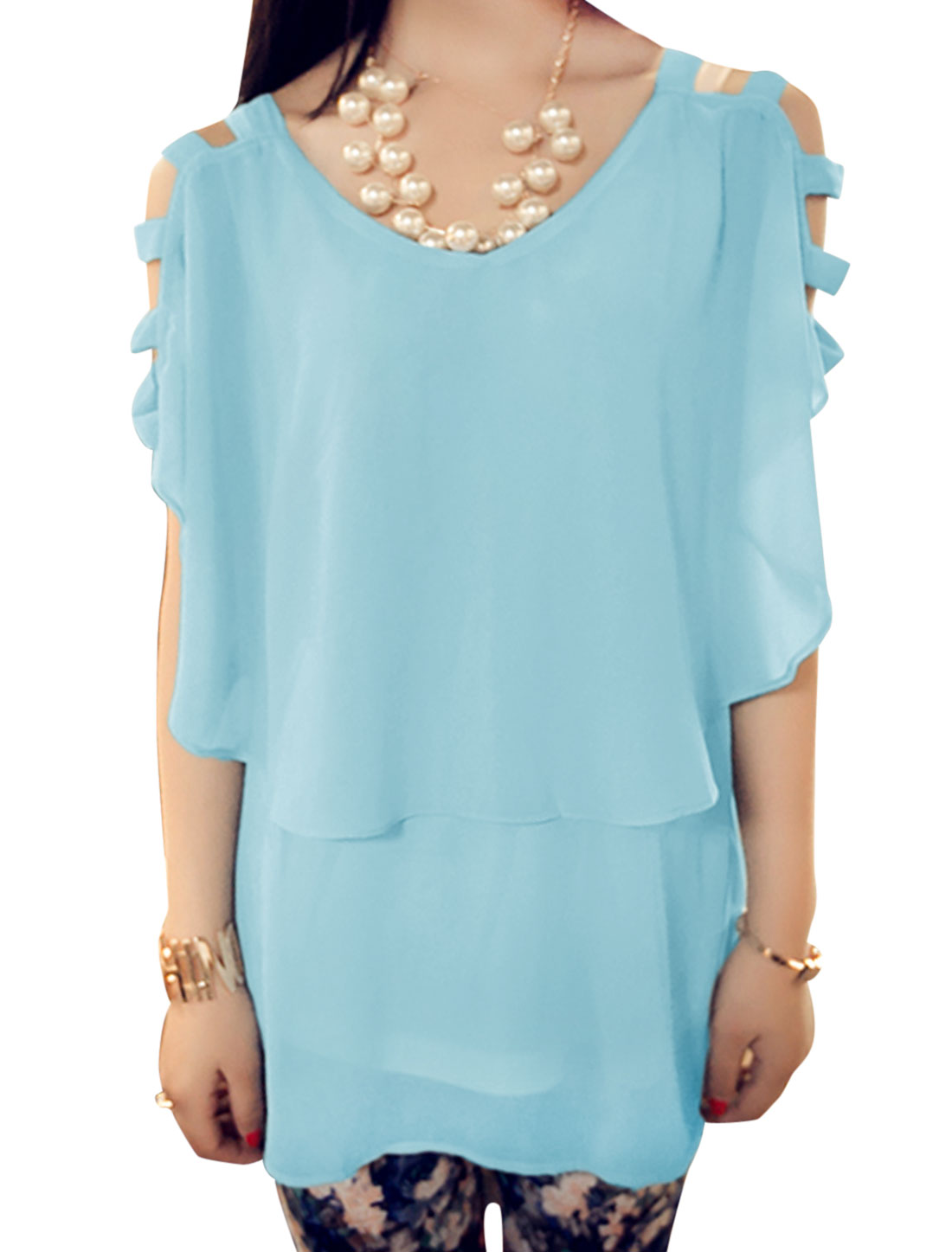 Lady Round Neck Cut Out Design Flouncing Style Blouse Sky Blue XS