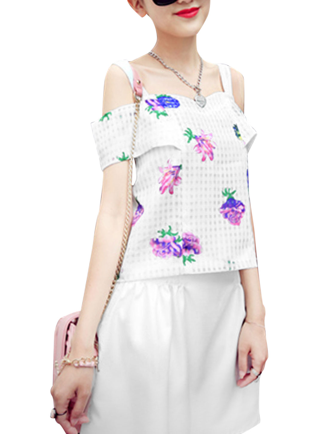 Women Cut Out Design Floral Prints Concealed Zipper Back Top White XS