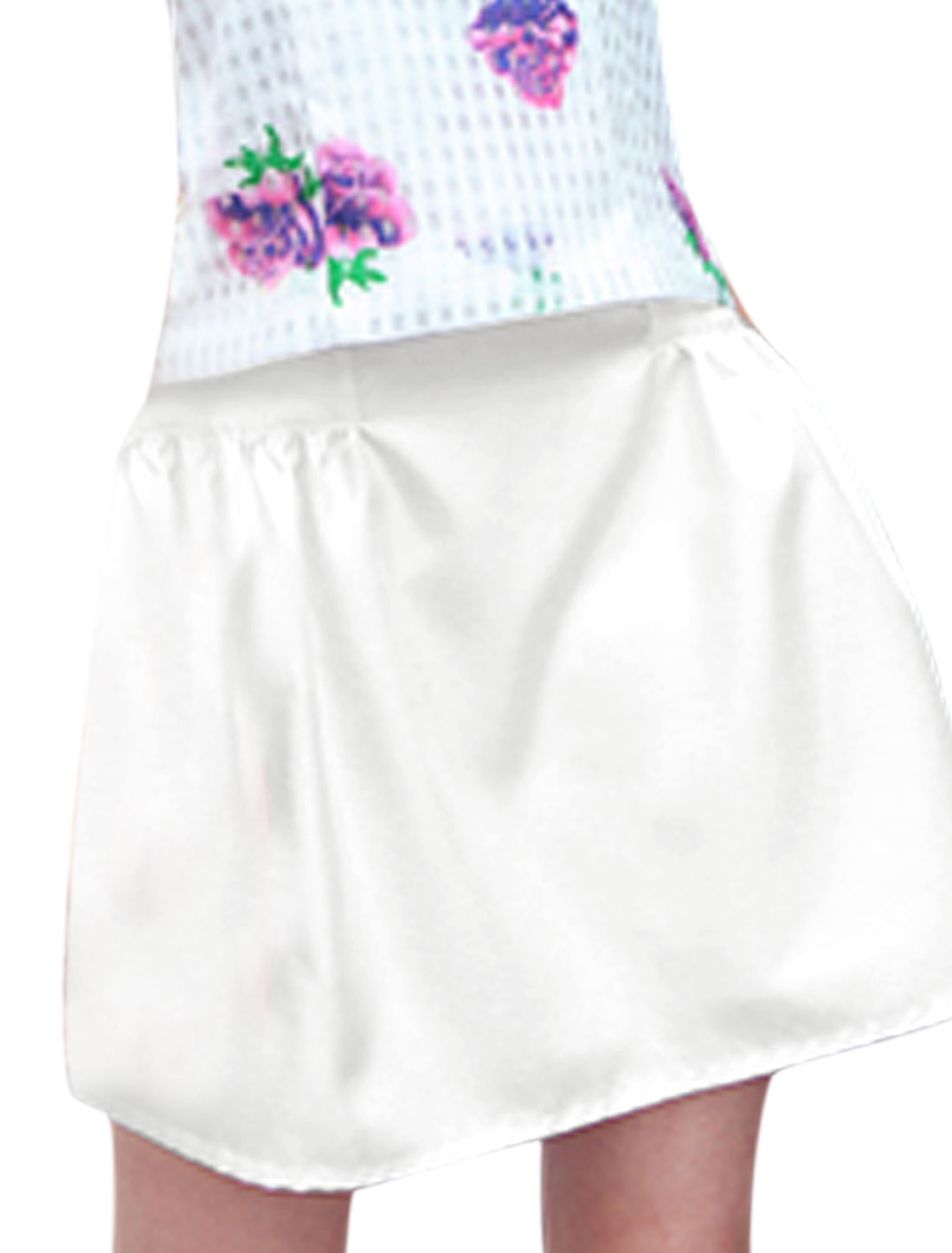 Lady Casual Zipped Side Double Pockets Side A-Line Skirt White M