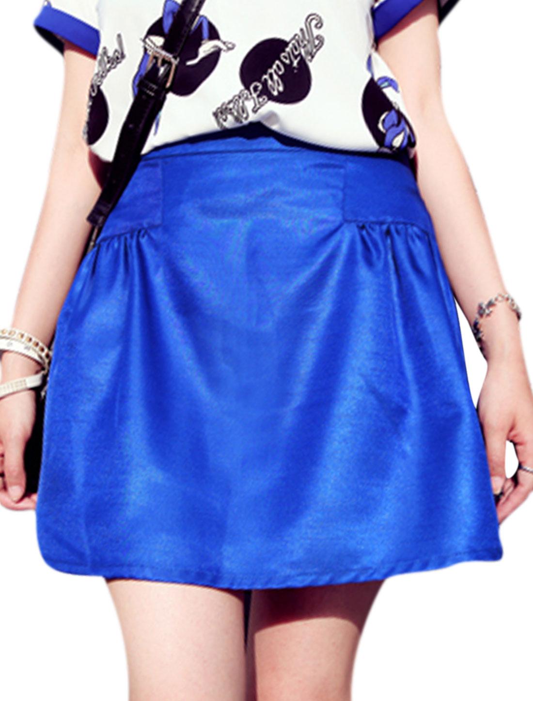 Lady Concealed Zipper Side Pockets Side A-Line Skirt Royal Blue M