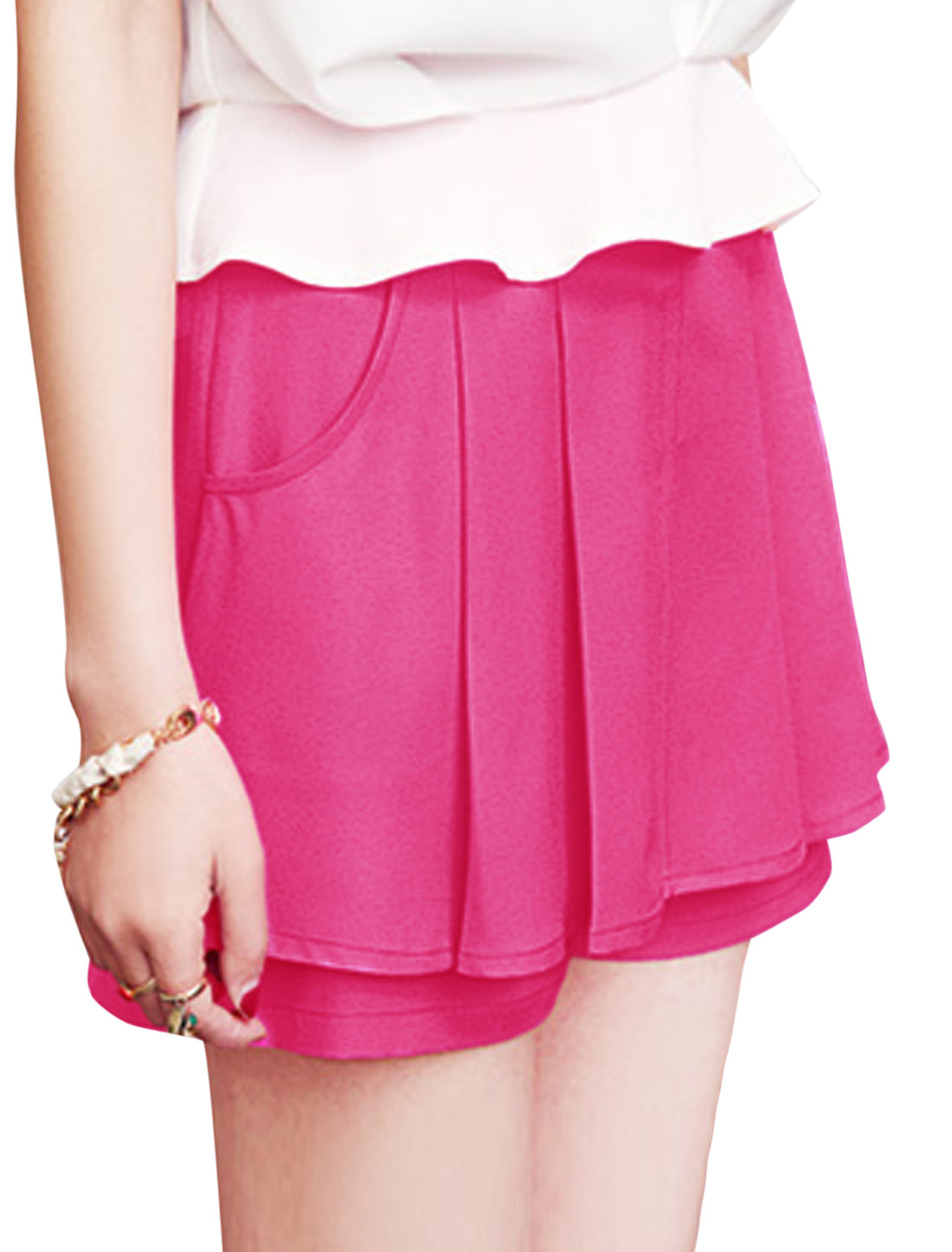 Lady High Rise Zipper Side Pleated Detail Casual Shorts Fuchsia XS