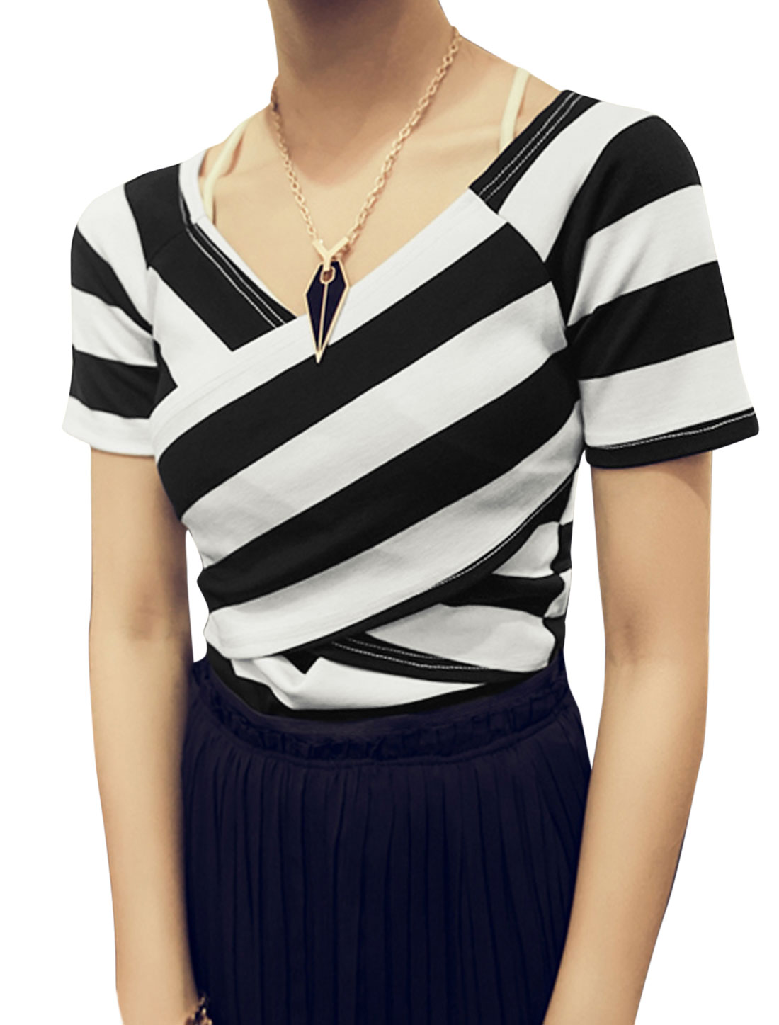 Lady V Neck Short Raglan Sleeve Stripes T-Shirt Black White XS